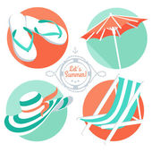 Summer icons: flip floppers, hat, beach umbrella and chair — 图库矢量图片