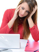 Young cute woman with severe headache — Stock Photo