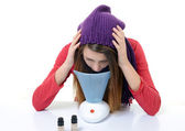 A young woman with colds and flu inhaled essential oils — Stock Photo
