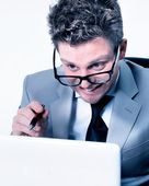 Stressed crazy manager at work — Stock Photo