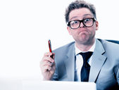 Crazy and funny manager stressed at work — Stock Photo