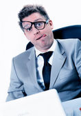 Freak out of stressed manager at the office — Stock Photo