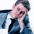 Exhausted businessman at the office — Foto Stock