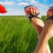 Постер, плакат: Ecological feet crossed symbolizing wellbeing