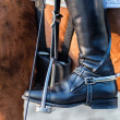 Close up of a boot rider with spurs wheel - Stock Photo