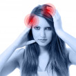 Young beautiful woman with severe headache — Stock Photo