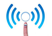 Wireless network symbol wifi with cercle on finger — Stock Photo
