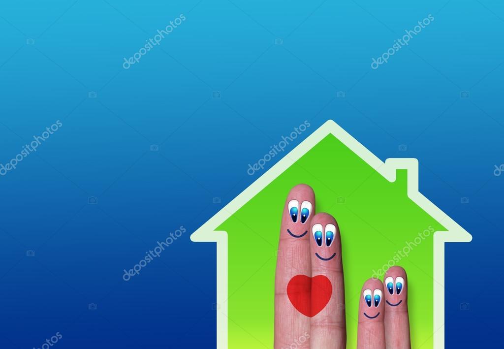 绿房子用可爱的手指家人的心