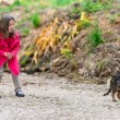 Little girl afraid of a cat — Stock Photo #26434427