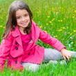 Happy cute child sitting in a grass of a flower garden — Stock Photo #26436135