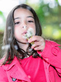 Close-up of cute child blowing on a flower standing in a park — Stock Photo
