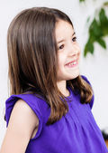 Expressive portrait of very cute girl smiling child — Stock Photo
