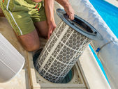 Control filtration system pool — Stock Photo