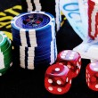 Stock Photo: Poker Chips on gaming table