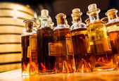 Bottle assembly for manufacturing traditional cognac — Stock Photo