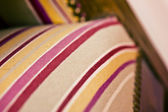 Closeup of upholstery tacks on an old traditional wooden chair — Stock Photo