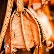 Leather bags on stall on the street market in Morocco — Foto Stock
