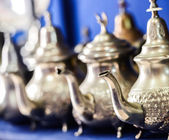 Set of arabic nana mint tea with metal tea pot — Foto Stock