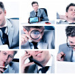 Collage of businessman posing and working at the office — Stock Photo