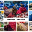 Collage on fishing activity in Essaouira, Morocco — Stock Photo