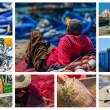 Collage on fishing activity in Essaouira, Morocco — Foto de Stock