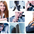Collage of business team posing and working at the office — Foto de Stock