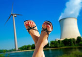 Wind against nuclear — Stock Photo