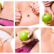 Stock Photo: Composition of female beauty and diets