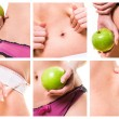Composition of female beauty and diets — Stock Photo #37674965