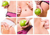Composition of female beauty and diets — Stock Photo