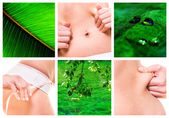 Collage of female beauty, diets and natural body care — Stock Photo