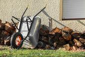Pile of firewood near a wall — Photo