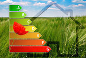 Icon of house energy efficiency rating with poppy, house and green background — Stock Photo