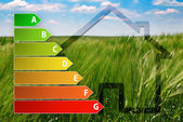 Icon of house energy efficiency rating with green background — Stock Photo
