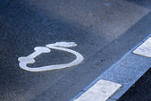 Symbol of electric station on the road — Stock Photo