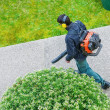Gardener using a gas blower in a park — Stock Photo #44271763