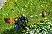 Corded string trimmer in a park — Stock Photo