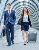 Junior executives dynamics in business trip — Stock Photo