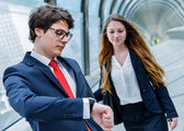 Junior executives of company are late for a business meeting — Stock Photo
