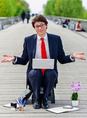 Upwardly mobile young executive in job search — Stock Photo