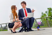 Junior executives dynamics working outside of their office — Stock Photo