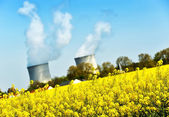 Nuclear power plant and colza fields — Stock Photo
