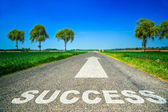 Sucess word painted on asphalt road — Stock Photo