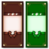 Greeting cards brown & green — Stock Vector