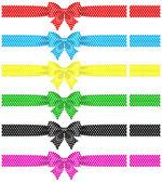 Polka dot bows with ribbons — Stock Vector