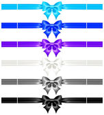 Bows with ribbons of cool colors — Stock Vector