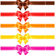 Stock Vector: Silk bows in warm colors with ribbons