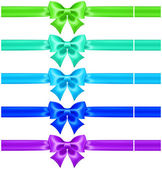 Silk bows in cool colors with ribbons — Stock Vector
