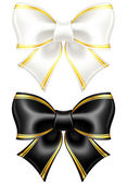 Black and white bows with golden edging — Stock Vector
