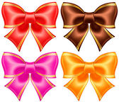 Silk bows in warm colors with golden edging — Stock Vector